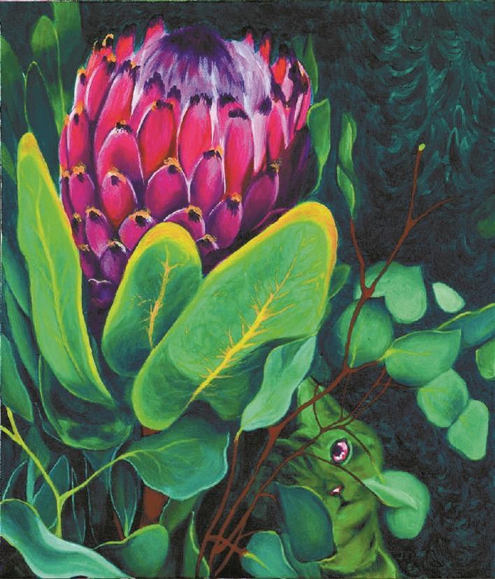 众多艺术作品中,两幅色彩浓郁,视觉冲击强烈的丙烯画作品十分吸睛.